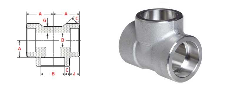 Socket Weld Unequal Tee Dimensions